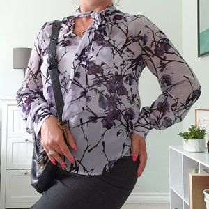 Floral blouse with neck tie